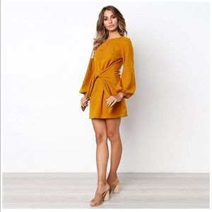 Dresses & Skirts - Women's Loose Casual Front Tie Long Sleeve Dress